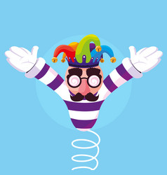 april fools day with crazy face and joker hat in vector image