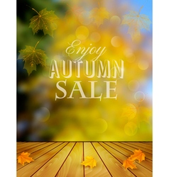 Autumn sale background with colorful leaves vector