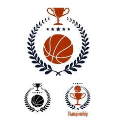 Basketball sporting emblems and symbols vector image