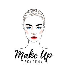 Beautiful woman make up academy or school logo vector