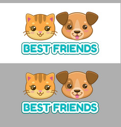 Best friends label cute cat and dog faces vector