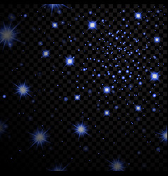 blue stars black night sky on transparent vector image