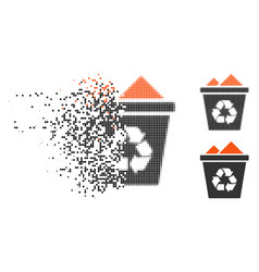 Broken dotted halftone full recycle bin icon vector
