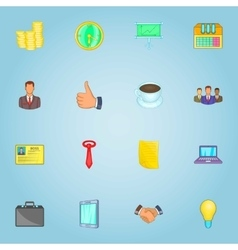 Business team icons set cartoon style vector image