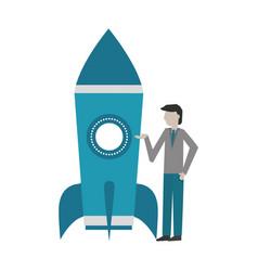 businessman and rocket startup success vector image