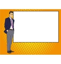 Businessman stays next to blank white board Pop vector