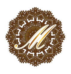 Capital letter m alphabet as a monogram vector