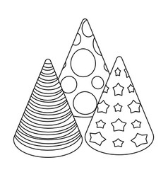Caps in the form of cones for partyparty and vector