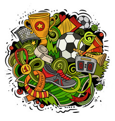 cartoon doodles football vector image