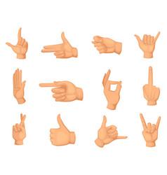 cartoon of hands gestures isolated vector image