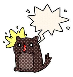 Cartoon shocked cat amazed and speech bubble in vector