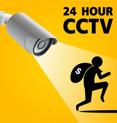 CCTV Security Camera capture robber man vector image