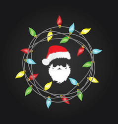 christmas lights with santa claus head vector image