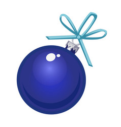 christmas toy in the form of a blue glass ball vector image