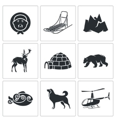 Chukchi and the Far North Icons Set vector