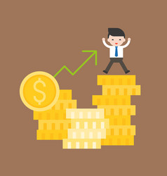 Cute business man stand on stack of gold coin vector