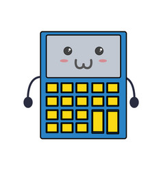 cute calculator kawaii vector image