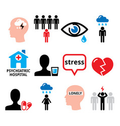 Depression stress anxiety icons set - men vector