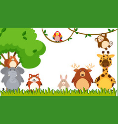 Different types of animals in the park vector