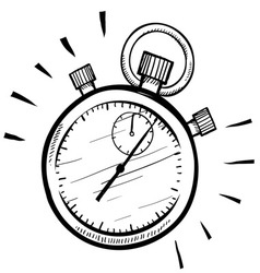 doodle stopwatch timer time speed vector image