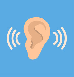 Ear listen icon on blue background ear vector