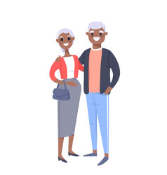 Elderly black couple hand drawn woman and man vector