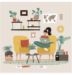 Female freelancer is sitting in armchair vector