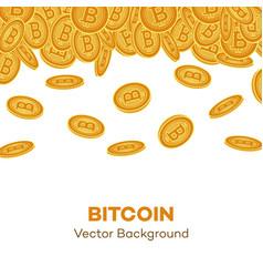 Flat bitcoin golden coins falling set vector