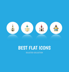 Flat icon church set of religious catholic vector