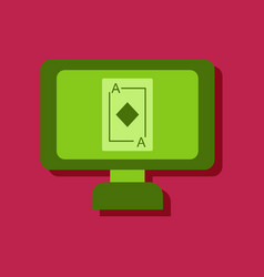Flat icon design collection ace of diamonds vector