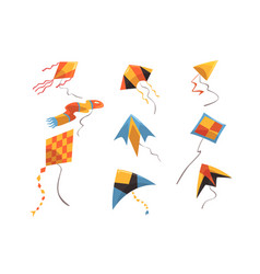 flat set bright-colored kites flying vector image