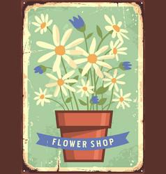 flower garden vintage sign vector image