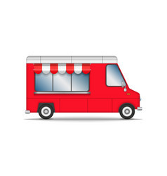 food truck isolated on white red car for fast vector image