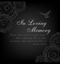 funeral card black roses decorations with flying vector image