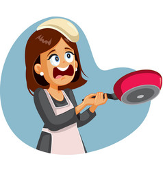 Funny female cook failing to flip pancakes vector