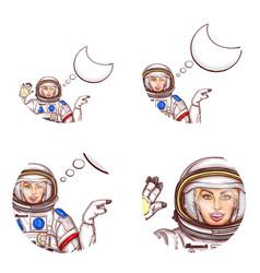 Girl spaceman speech bubble avatar icon vector