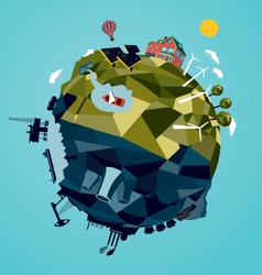 Globe with alternative and traditional energy vector image