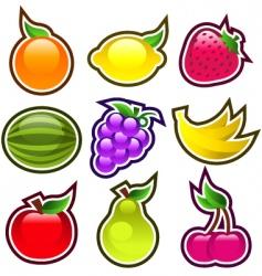 Glossy fruits vector