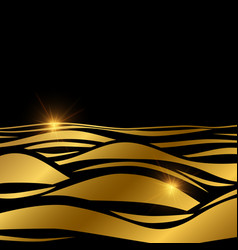 gold wave background template with shine effect vector image