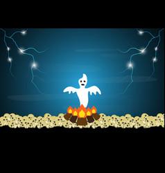 Halloween ghost bonfire skull thunderbolt vector