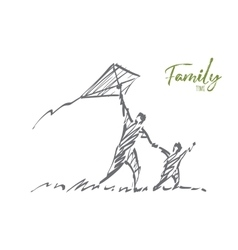 Hand drawn dad and son flying kite with lettering vector image