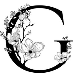 Hand drawn floral g monogram and logo vector