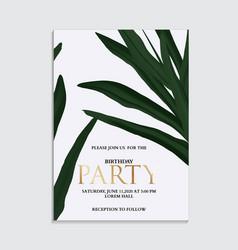 Hand drawn palm leaves tropical dark green design vector