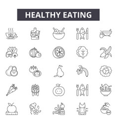 healthy eating line icons signs set vector image