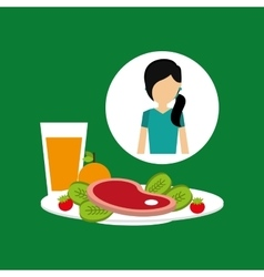 healthy food girl with plate food vector image