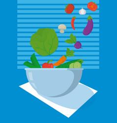 Healthy food in bowl vector