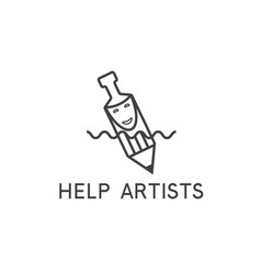 Help artist concept with pencilmask and bottle vector