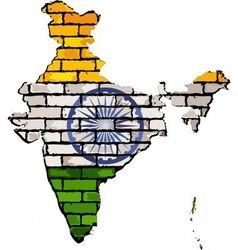 India map on a brick wall vector