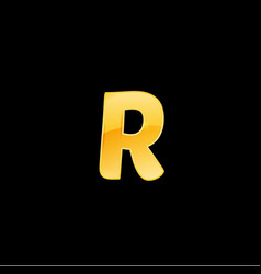 initial letter r with metallic texture trendy 3d vector image