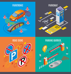 isometric parking icon set vector image